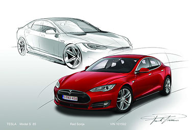 Tesla model S classic design drawing 1