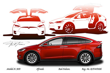 Tesla model X  design drawing 1